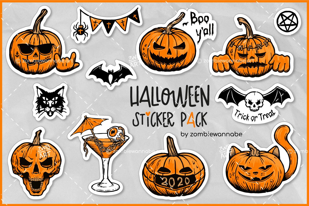 Halloween Sticker Pack - prw1- live on DesignBundles.net