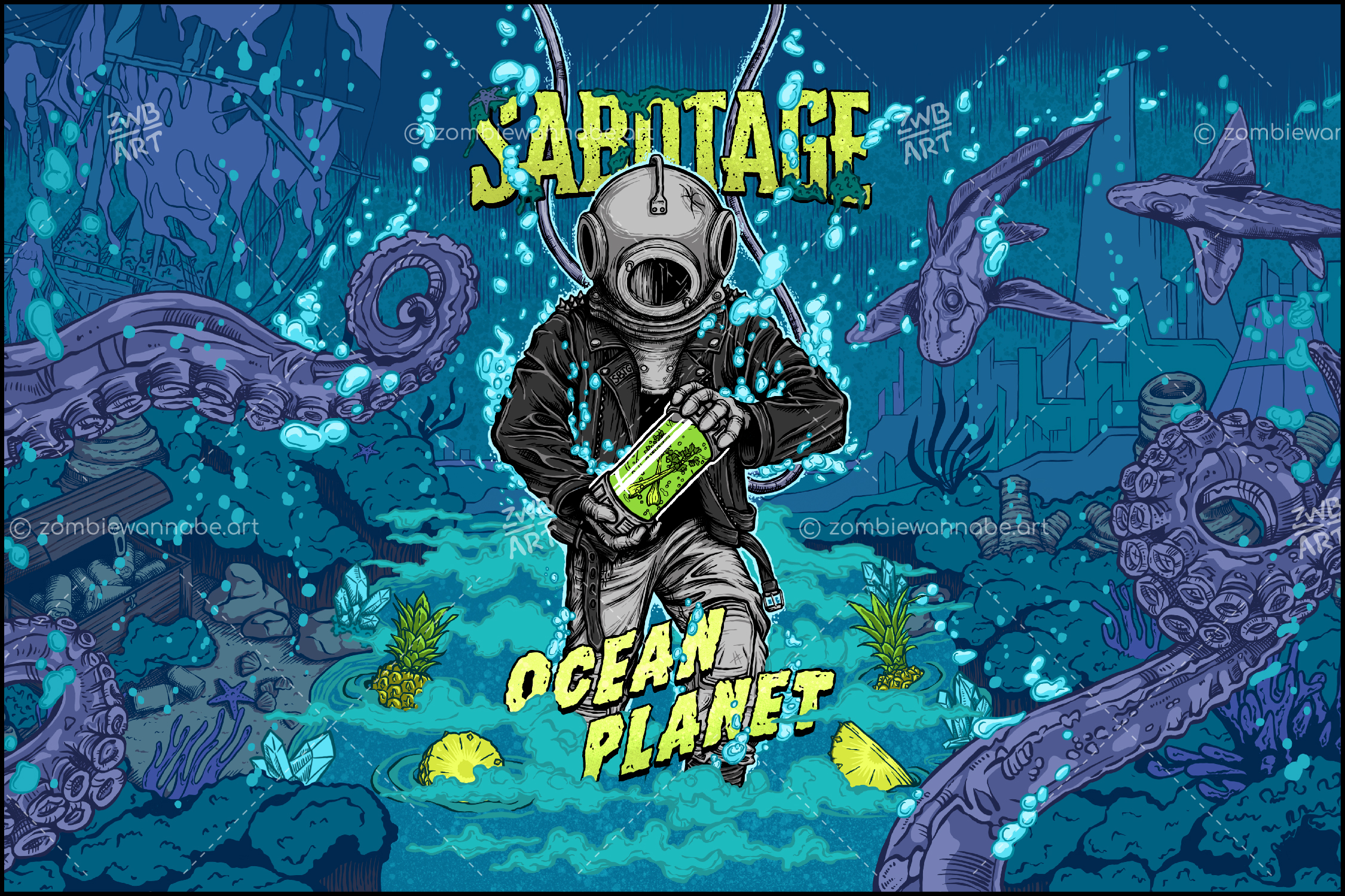 Sabotage - Ocean Planet - pineapple - commissioned work